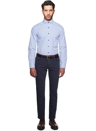 Altınyıldız Classics Puantiyeli Slim Fit Gömlek Mavi
